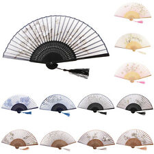Bamboo Folding Fan Hand Fan Flower Printed For Party Wedding Gift Home Decor