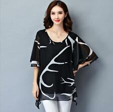 Black new women lady summer loose chiffon T shirt top blouse plus size 18W
