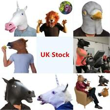 UK Halloween Animal Head Face Mask Latex Rubber Horse Unicorn Party Costume Hot