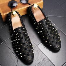 Men's Fashion Spike Pointy Toe Punk Studded Rivet Loafers Casual Dress Shoes