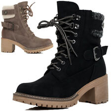Womens Lace Up Combat Military Block Heel Ankle Boots Shoes Sz 3-8