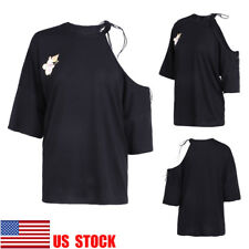 US Women Off Shoulder Casual Top Short Sleeve Blouse Lace Up Shirt Looae T-Shirt