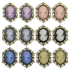 12pcs Women Elegant Cameo Style Crystal Antique Wedding Party Brooch Pins