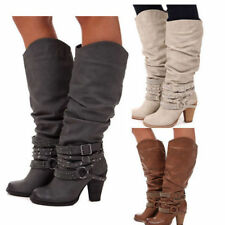 NEW Womens Shoes Knee High Mid Calf Round Toe Slouch Comfort Casual Boots