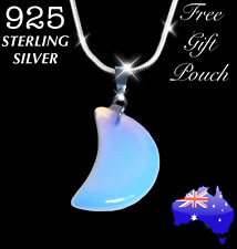 Opalite Opal Crystal Quartz Chakra Crescent Moon 925 Sterling Silver Necklace