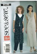 4109 Vintage Butterick Sewing Pattern Misses Duster Dress Pants Easy See & Sew