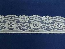 """Lace Trim 3"""" Wide 6 yards Natural Beige Ivory Flowers Sewing Flat Crafts Lot 35"""