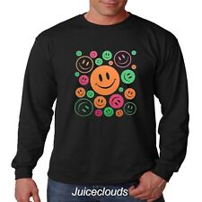 Smiley Face Long Sleeve Shirt Neon Peace and Love Smiley Emoji Men's Tee