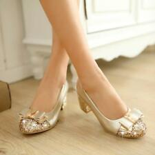 Womens HOT Sweet Shiny Round Toe Bling Bowknot Mid Block Heel Date Party Shoes