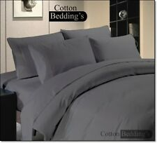 600 800 1000 1200 TC US 100% Egyptian Cotton Gray Color Duvet/Fitted/Flat Solid