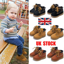 UK Kids Boys Lace Up Winter Warm Girls Ankle Boots Anti-slip Combat Shoes Size