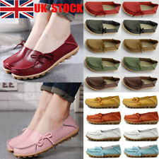 UK Women Comfy Flat Oxfords Casual Driving Peas Slip On Moccasin Lazy Shoes Size