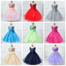 Flower Baby Girls Sequined Dress Party Pageant Wedding Kids Formal Tulle Dress