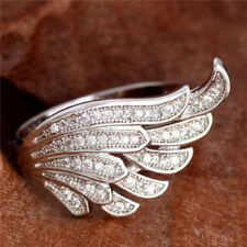 925 Silver Plated Ring Wing Sz 6 10 Cubic Zirconia Charm Fashion Finger Band