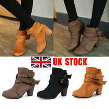 UK Women Block Ankle Boots Buckle Chunky Mid Heel Casual Winter Fit Shoes Size