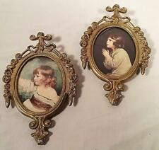 2 VTG MINI BRASS TONE METAL OVAL VICTORIAN STYLE PICTURE FRAMES MADE IN ITALY