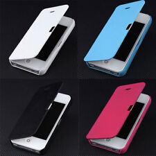 Black Magnetic Flip Leather Hard Skin Pouch Wallet Case Cover For iPhone 5 5S 5G