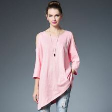 Hollow Out O Neck Pink Color Three Quarter Sleeve Knee Length Dress For Women