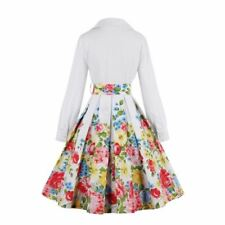 Women Floral Printed Cotton Fabric Long Sleeve Plus Size Ball Gown Dress