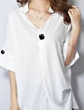 Women Half Sleeve Chiffon Fabric Plus Size Half Sleeve Button Decorated Top