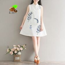 Women New Summer Vintage Blue White Color Embroidery Pattern Dress