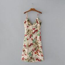 Floral Printed Spaghetti Strap Sleeveless Backless Casual Dress For Women
