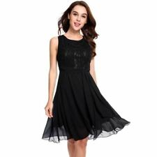 Lace Decorated Patchwork Chiffon Fabric Vintage Knee Length Dress For Women