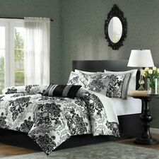 7-Piece Damask Comforter Set in Black White Grey in Queen, King and California K