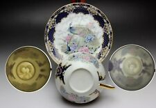 Navy Blue Peacock Floral Pattern Japanese Porcelain Geisha Tea Cup and Saucer