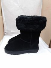 Ladies Mid Calf Suede Fur Lined with Fur Collar Winter Snow Boots