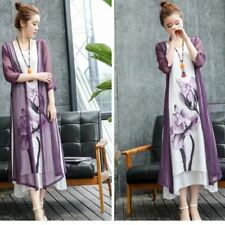 Cotton And Linen Fabric Vintage Style Two Piece Set Dress For Women