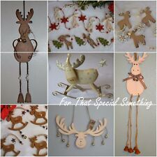 Shabby Chic wooden Reindeer Rudolph Christmas tree decorations decor bauble hang