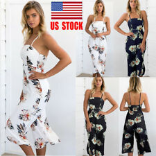 US Women Sling Floral Jumpsuit Chiffon Playsuit Wide Leg Long Pants Party Romper