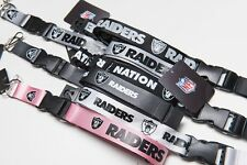 Oakland Raiders Lanyard/Keychain (NFL Officially Licensed Product)