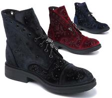 Womens Ladies Velvet Lace-Up Comfy Casual Ankle Desert Boots Shoes Size 3-8