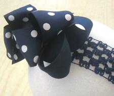 Navy Blue Dots Boutique Hair Bows Big Double Layered Polka Dot Hairbow Nautical