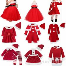 Toddler Baby Girls Christmas Claus Santa Dress Outfit Costume Xmas Clothes Set