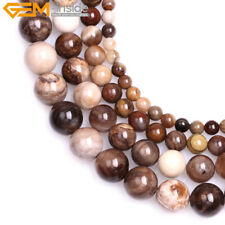 Natural Round Brown American Silicified Wood Opalite Beads Jewelry Making 15''