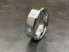 Square Faceted Multi CZ Gem Tungsten Wedding Ring Size 9,10,11,12,13 (f114)