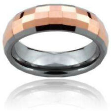 Multi Square Faceted Rose Gold Tungsten Wedding Ring Size 5,6,7,8 (f115)