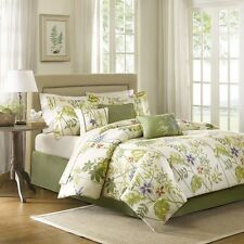 7pc Tropical Floral Comforter Bed Skirt Pillow Shams AND Pillows