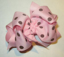 Baby Light Pink & Brown Dot Double Layered Hair Bows Boutique Chunky Hairbows