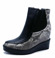 LADIES BLACK SNAKE WEDGE PULL-ON CALF SMART PLATFORM CHELSEA ANKLE BOOTS UK 3-8