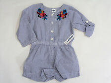 NWT Baby Girls Old Navy Size 0 3 6 12 18 24 Months Embroidered Striped Romper