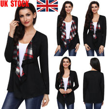 UK Women Lattice Panelled Thin Cardigan Casual Jacket Long Sleeve Top Fit Shirt