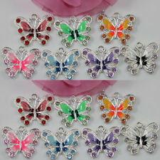 Colorful Enamel Crystal Rhinestone Butterfly Charms Pendant Jewelry Craft DIY