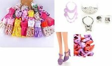 5 Barbie Doll Outfits - Dresses Clothes and 5 Pairs Fashion Mini Shoes and 3