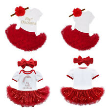 Floral Girls Baby Romper Tutu Skirt Christmas Clothes Jumpsuit Dress Outfit Kids