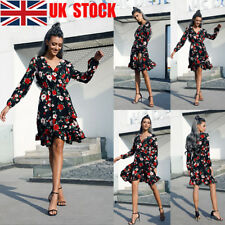 UK Womens Ladies Wrap V-Neck Floral Long Sleeve Flounce Party Chiffon Midi Dress