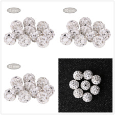 100Pcs Quality Czech Crystal Rhinestones Pave Clay Round Disco Ball Spacer Beads